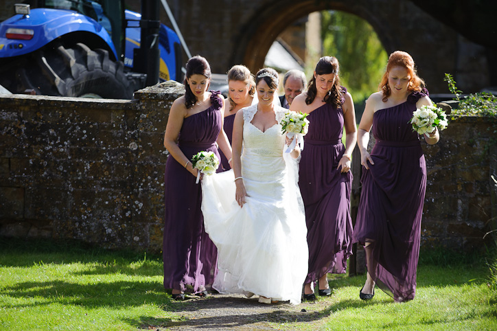 Wormleighton Wedding Photography: Bride and Bridesmaids at St Peter's Church, Wormleighton